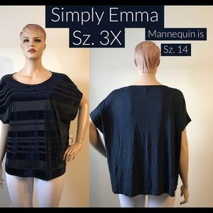 NWT Simply Emma Stripped Velvet Dress Top Top